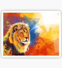 Majesty - Lion portrait, colorful lion, animal painting Sticker