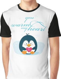 """PENGUIN """"you warm my heart"""" Graphic T-Shirt"""