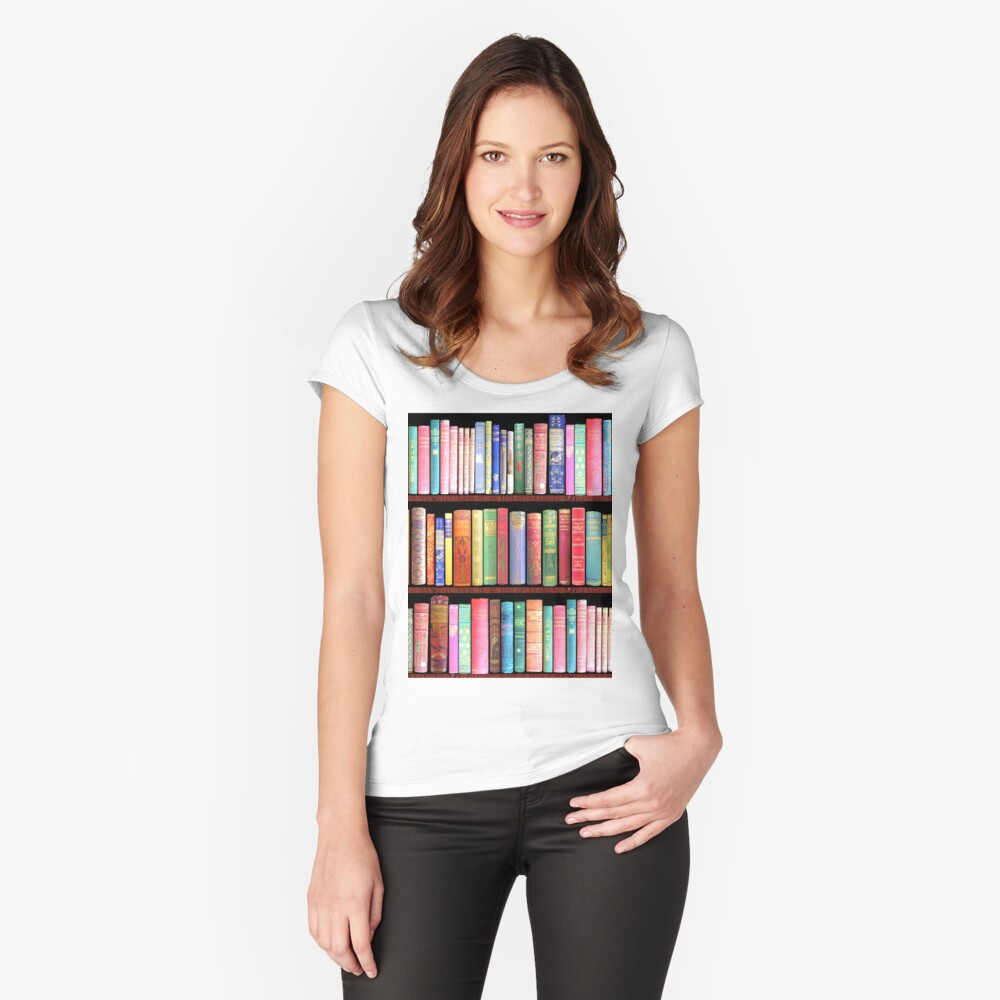 Bookworm Antique books Fitted Scoop T-Shirt