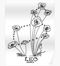 Floral Constellation - Leo Poster