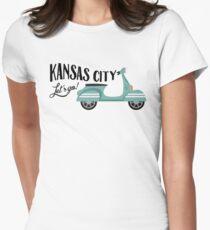 Kansas City T-shirt - Moped Scooter Womens Fitted T-Shirt