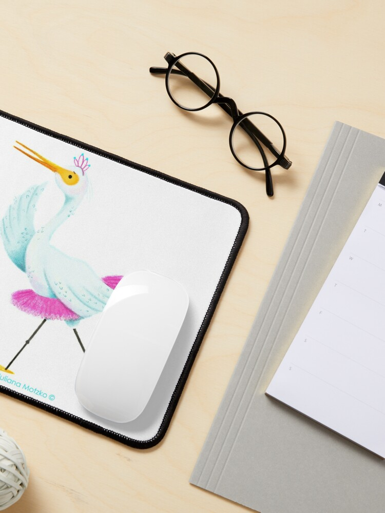 Alternate view of Egret dancing Ballet Mouse Pad