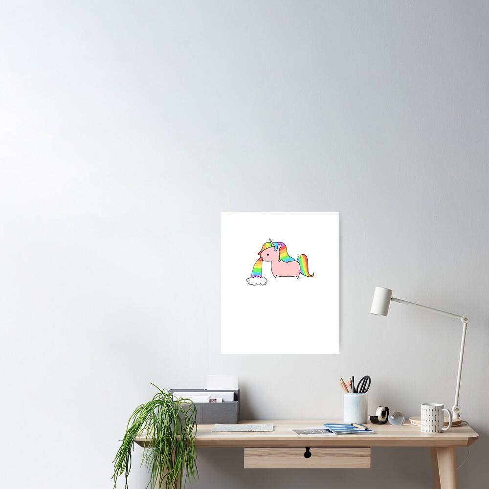 Cute Rainbow Unicorn Throwing Up A Rainbow  Poster