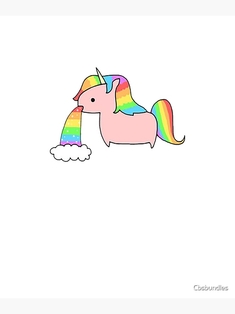 Cute Rainbow Unicorn Throwing Up A Rainbow Greeting Card By Cbsbundles Redbubble