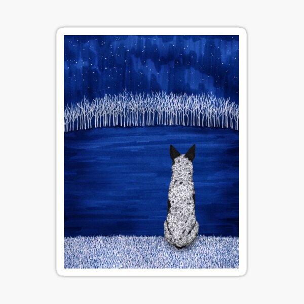 Australian Cattle Dog, Blue Heeler (Blue Forest, Starry Sky), by Artwork by AK Sticker