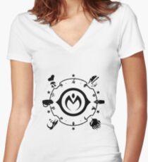 Jojo - Morioh Stands (Black) Women's Fitted V-Neck T-Shirt