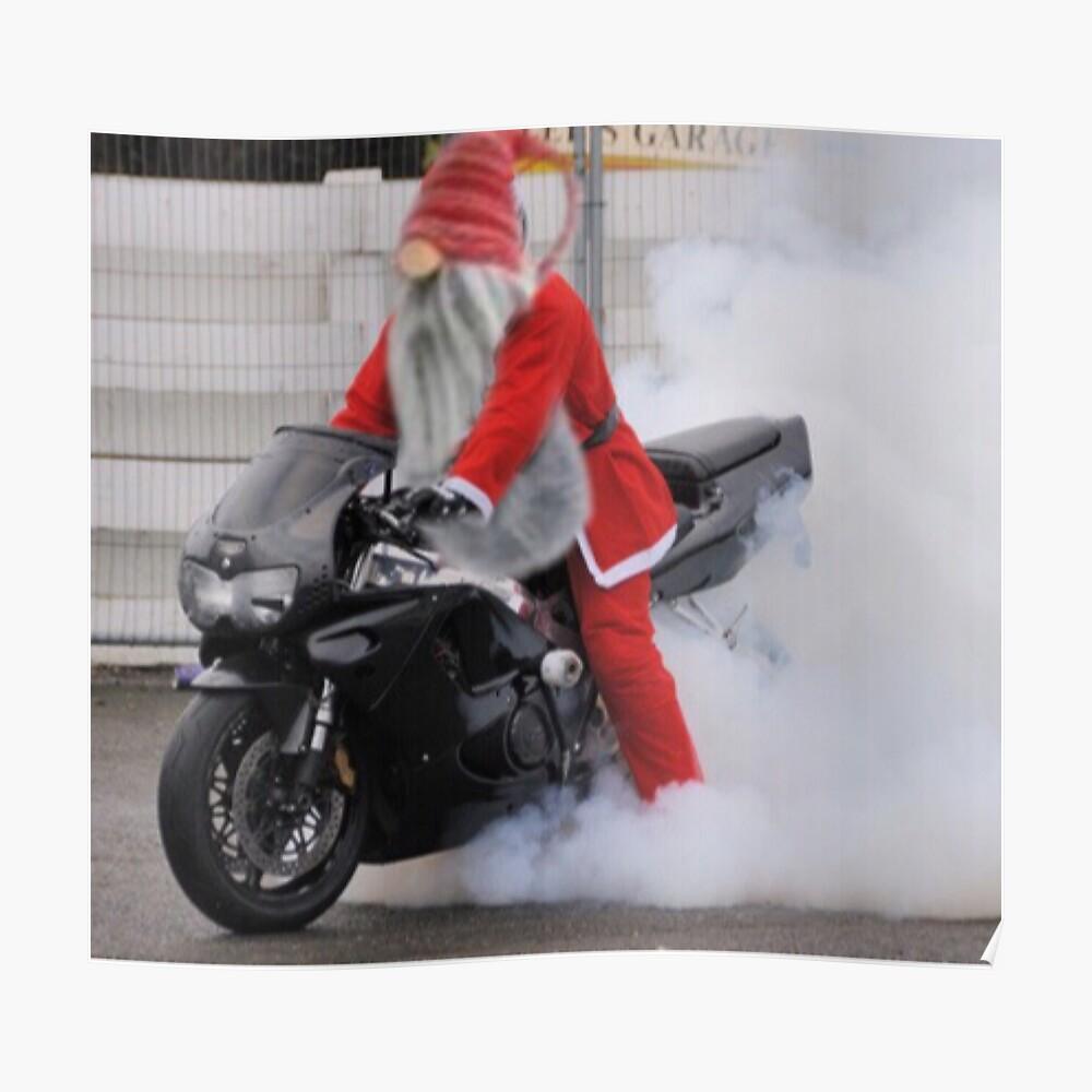 Mr. Elf loves riding a hot bike!!  Poster