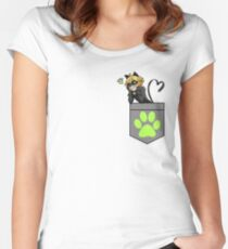 Chat Noir in a Pocket Women's Fitted Scoop T-Shirt