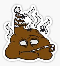 party geburtstag feiern traurig alleine einsam gesicht hut tröte fliegen stinken scheiße kacke haufen kot riechen ekelhaft häufchen comic cartoon  Sticker