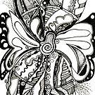Butterflower, Ink Drawing by Danielle Scott