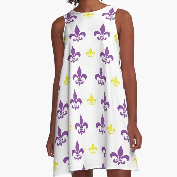 Geaux Purple and Gold Fleur de Lis Pattern A-Line Dress