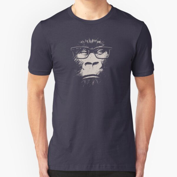 Hipster Gorilla With Glasses Slim Fit T-Shirt