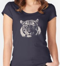 Hipster Tiger With Glasses Women's Fitted Scoop T-Shirt