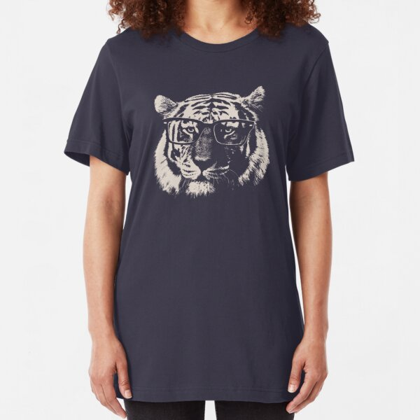 Hipster Tiger With Glasses Slim Fit T-Shirt