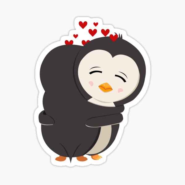 Amour de pingouin - étreinte Sticker