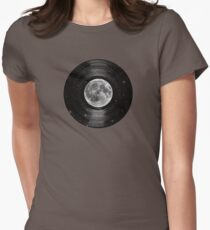 Moon In Space Vinyl LP Record Womens Fitted T-Shirt