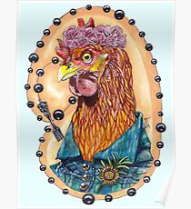 red fowl with flower crown and black fork rosary Poster