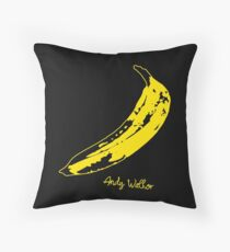 Retro Velvet Underground Andy Warhol Banana Rock Black T Shirt Sz S M L XL Throw Pillow