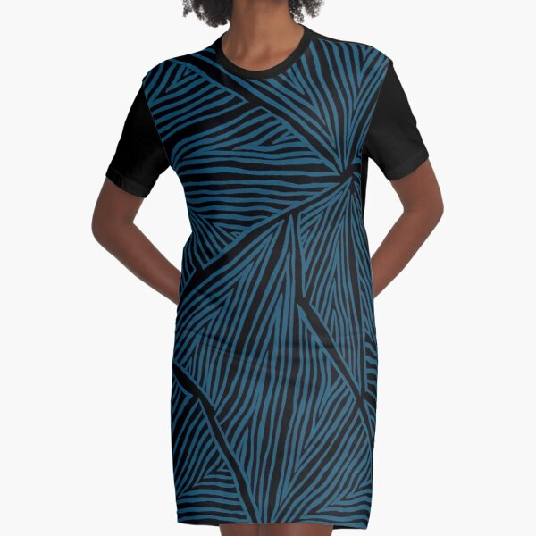 Blue Triangles Graphic T-Shirt Dress