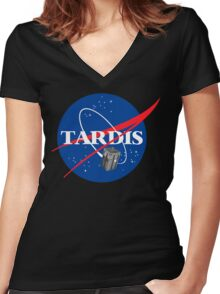 Tardis NASA T Shirt Parody Dr Dalek Who Doctor Space Time BBC Tenth Police Box Women's Fitted V-Neck T-Shirt
