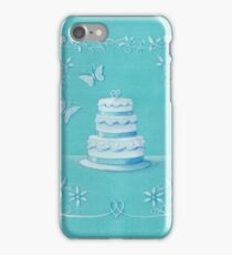 Blue and white wedding cake iPhone Case/Skin