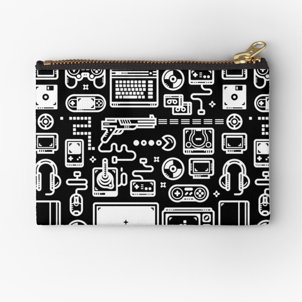 Retro Gamer Video Game Consoles, PC's, Controllers, Joysticks and Gamepads Zipper Pouch