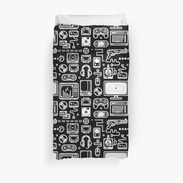 Retro Gamer Video Game Consoles, PC's, Controllers, Joysticks and Gamepads Duvet Cover