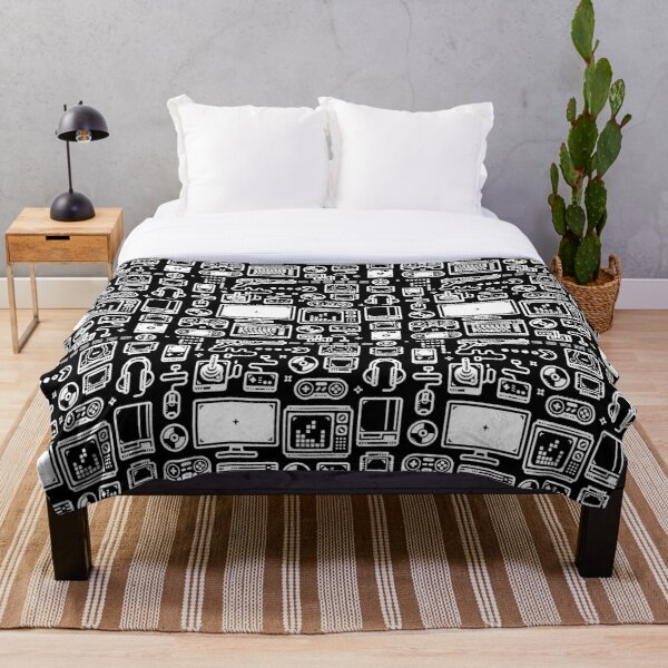 Retro Gamer Video Game Consoles, PC's, Controllers, Joysticks and Gamepads Throw Blanket
