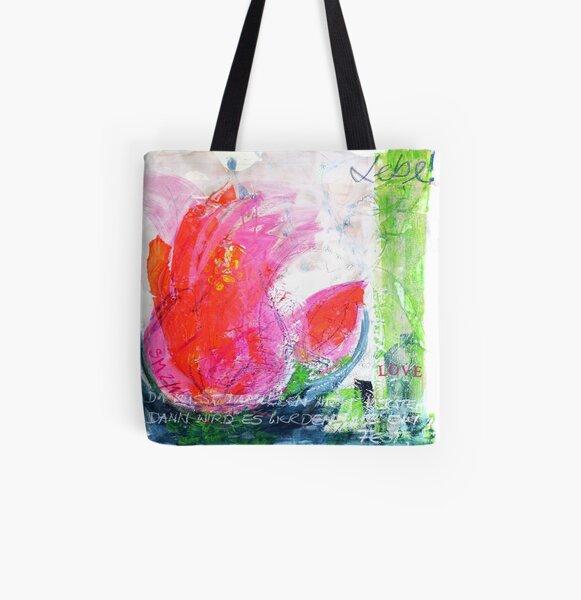 Frühlingserwachen: »orange tulip« Allover-Print Tote Bag