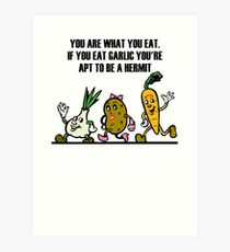 Cartoon Veggies Running Art Print
