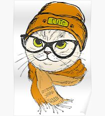 portrait of cat hipster  Poster