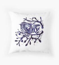 Lino cut  - Cute Bird in Tree Throw Pillow