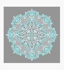 Teal and Aqua Lace Mandala on Grey Photographic Print