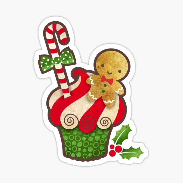 Christmas Cupcake Gingerbread Boy Sticker