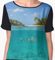 Half above and below island with sharks underwater Chiffon Top
