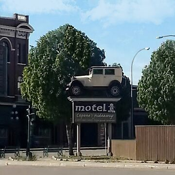 Al Capone's car at the Motel where he stayed during prohibition - Moose Jaw Saskatchewan- PILLOW AND TOTE BAG...ECT.. by Rapture777
