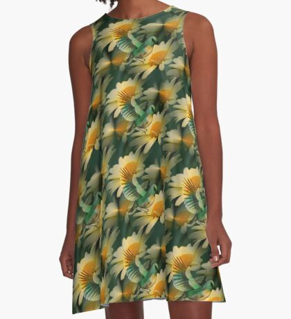 Fantasy Bird On Yellow Daisy Flower A-Line Dress
