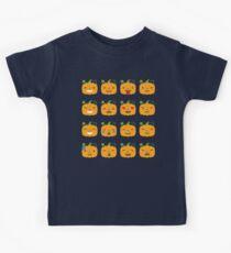 Pumpkin Emoji 16 Different Facial Expressions Kids Clothes