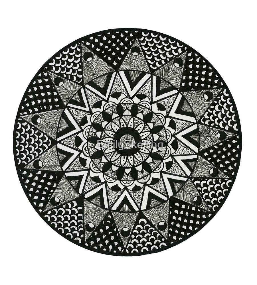 Mandala Angular Black by EmilySkelling