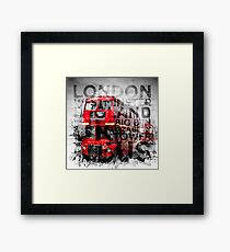 Graphic Art LONDON WESTMINSTER Buses   Typography Framed Print