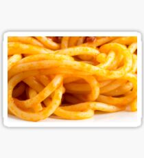 Detailed macro view on cooked spaghetti on a plate Sticker