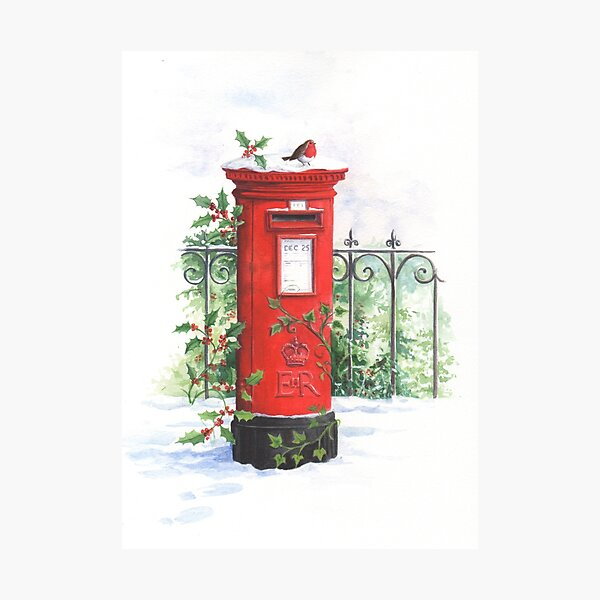 Red Post box in the snow Photographic Print