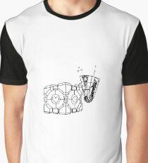Claptrap and Companion Cube (Black) Graphic T-Shirt