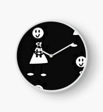The Girl with the Curly Hair Holding Cat - Dark Grey Clock