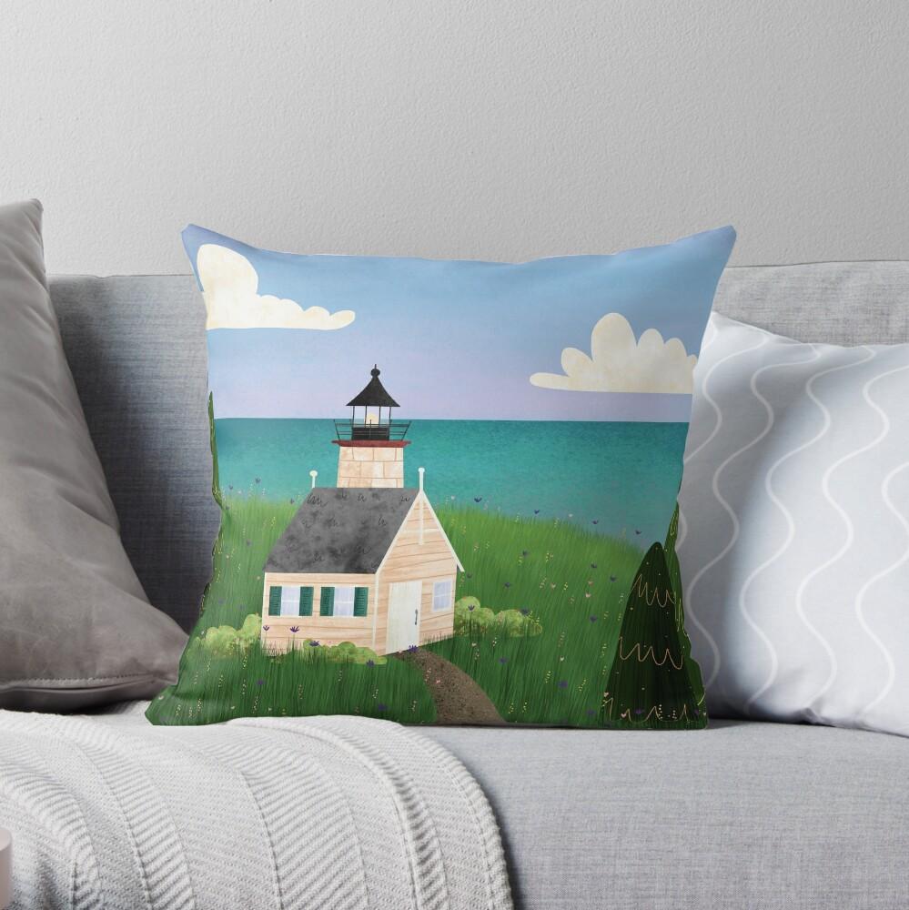 Michigan Lighthouse Throw Pillow