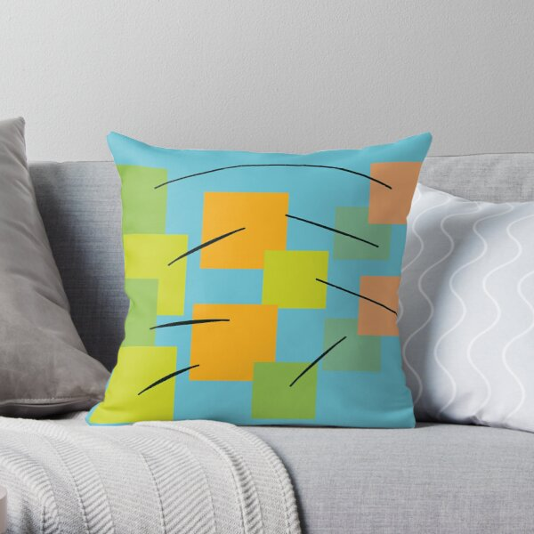 Geometric abstract digital painting Throw Pillow