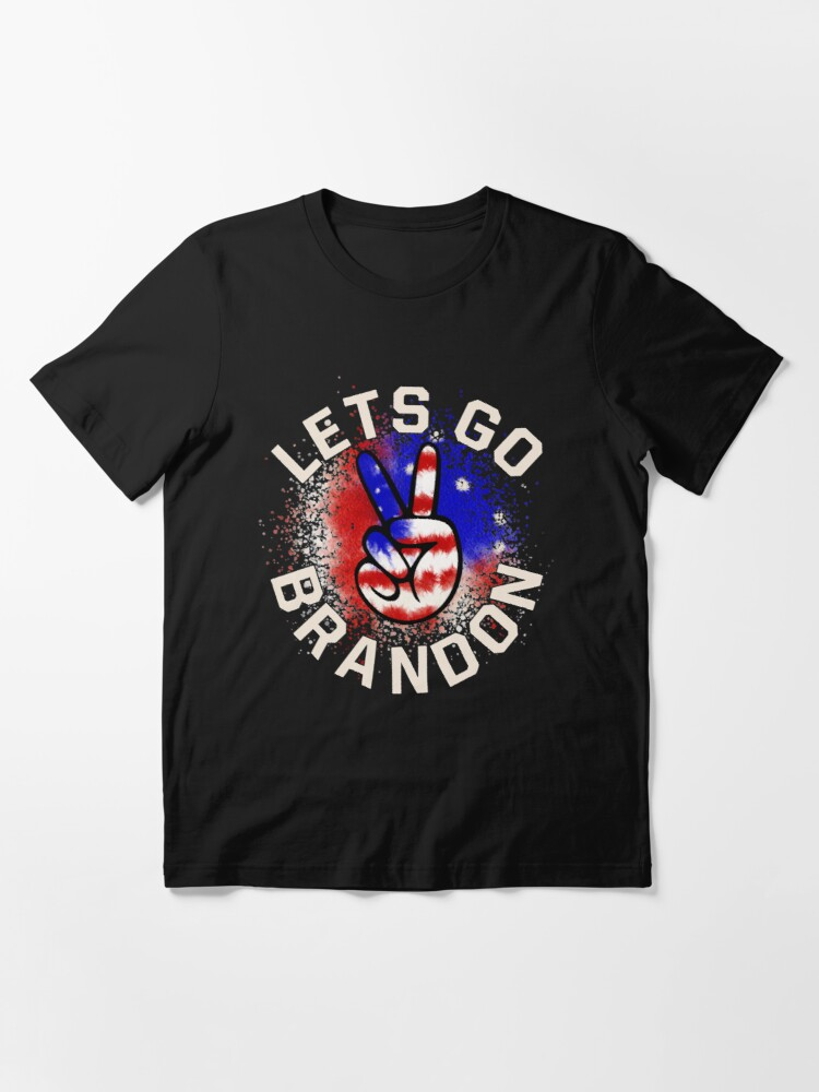 Alternate view of Let's Go Brandon Conservative Anti Liberal US Flag Essential T-Shirt