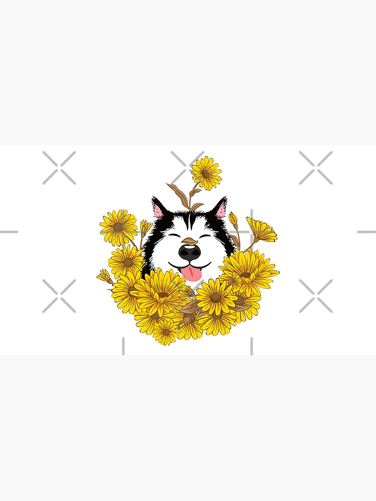 Siberian Husky Dog and Sunflowers by Lulupainting