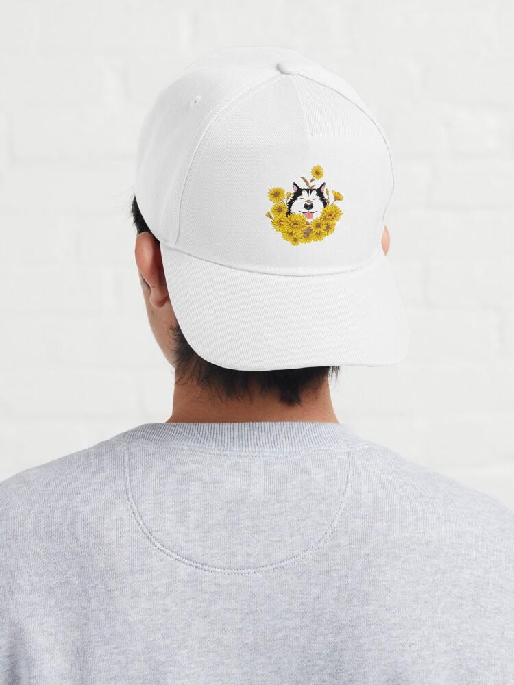 Alternate view of Siberian Husky Dog and Sunflowers Cap