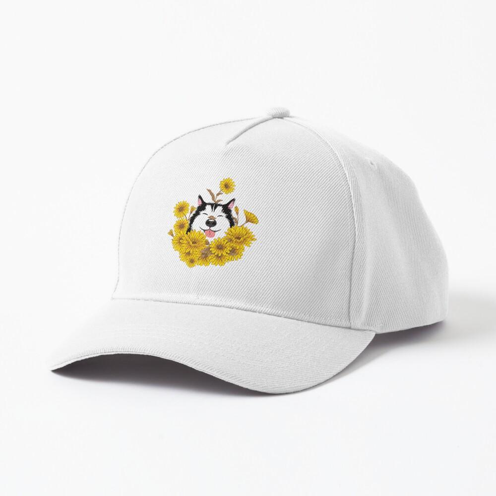 Siberian Husky Dog and Sunflowers Cap